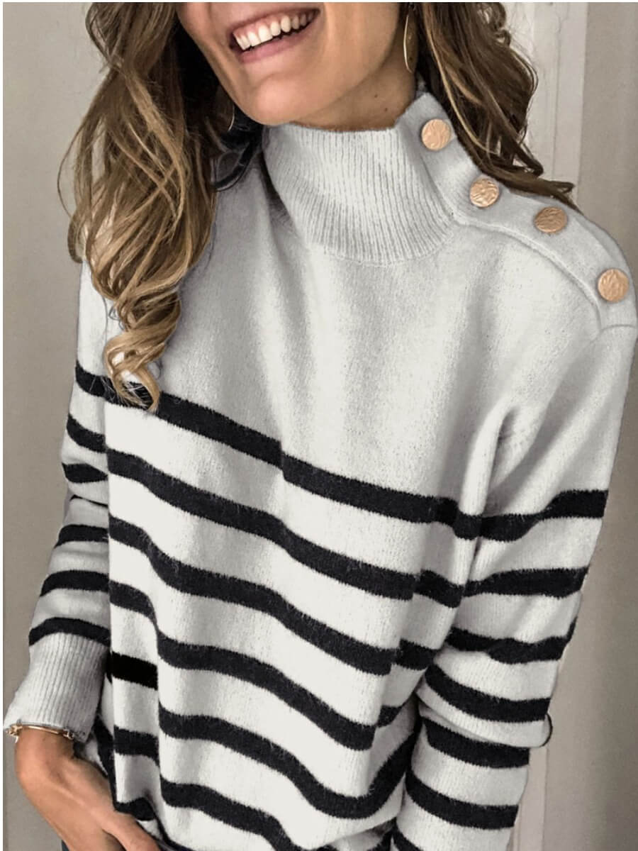 LW Lovely Chic Turtleneck Button Grey Sweater
