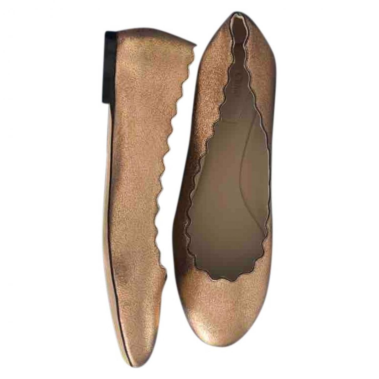Chloe Lauren Ballerinas in  Gold Leder