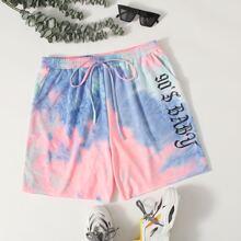 Plus Drawstring Waist Letter Graphic Tie Dye Shorts