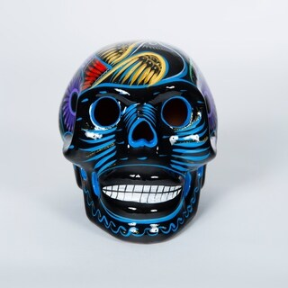 Handmade Cermaic Day of the Dead Skull (Mexico) (Blue)