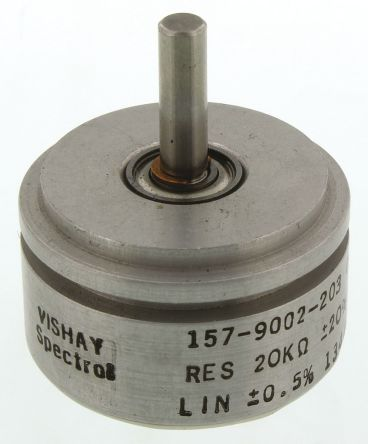 Vishay 1 Gang Rotary Conductive Plastic Potentiometer with an 3.18 mm Dia. Shaft - 20kΩ, ±20%, 1W Power Rating, Linear,