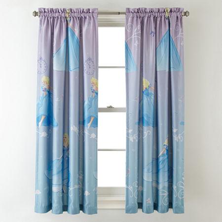 Disney Cinderella Enchanted Moment Room-Darkening Rod-Pocket/Back-Tab Curtain Panel, One Size , Multiple Colors