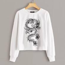 Pullover con estampado de dragon