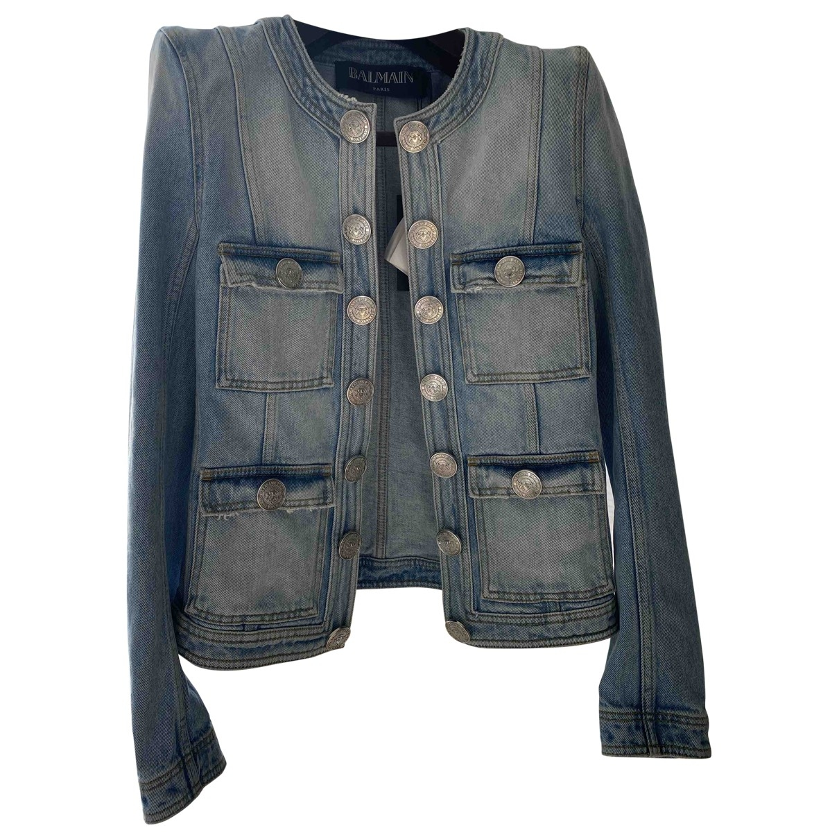 Balmain \N Blue Denim - Jeans jacket for Women 36 FR