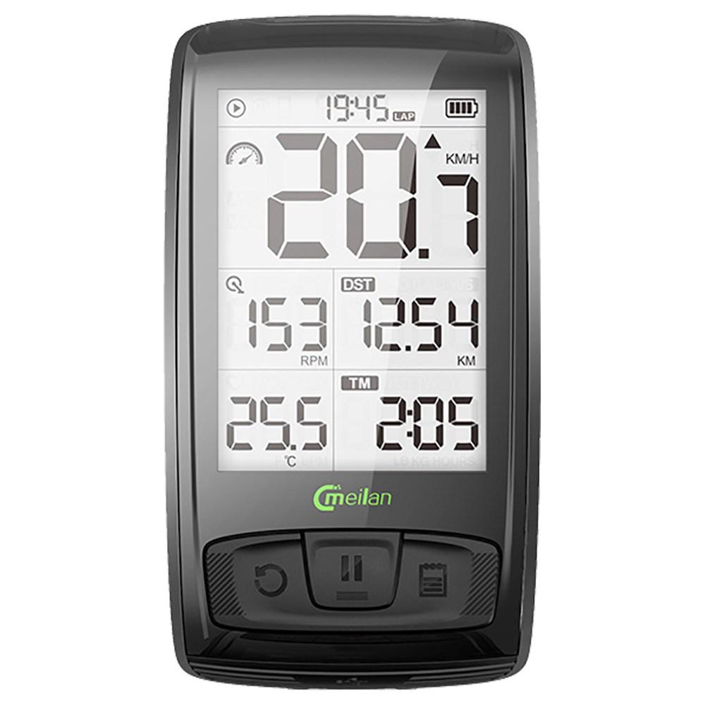 Meilan M4 Bike Computer Wireless Speedometer Odometer 2.5 Inch IML Mirror Surface Screen - Black