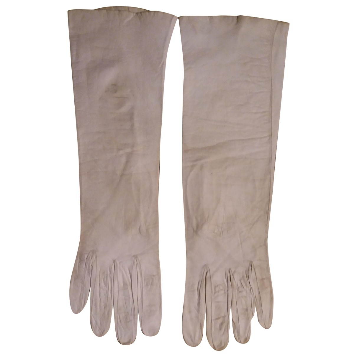 Dior \N White Leather Gloves for Women 7.5 Inches