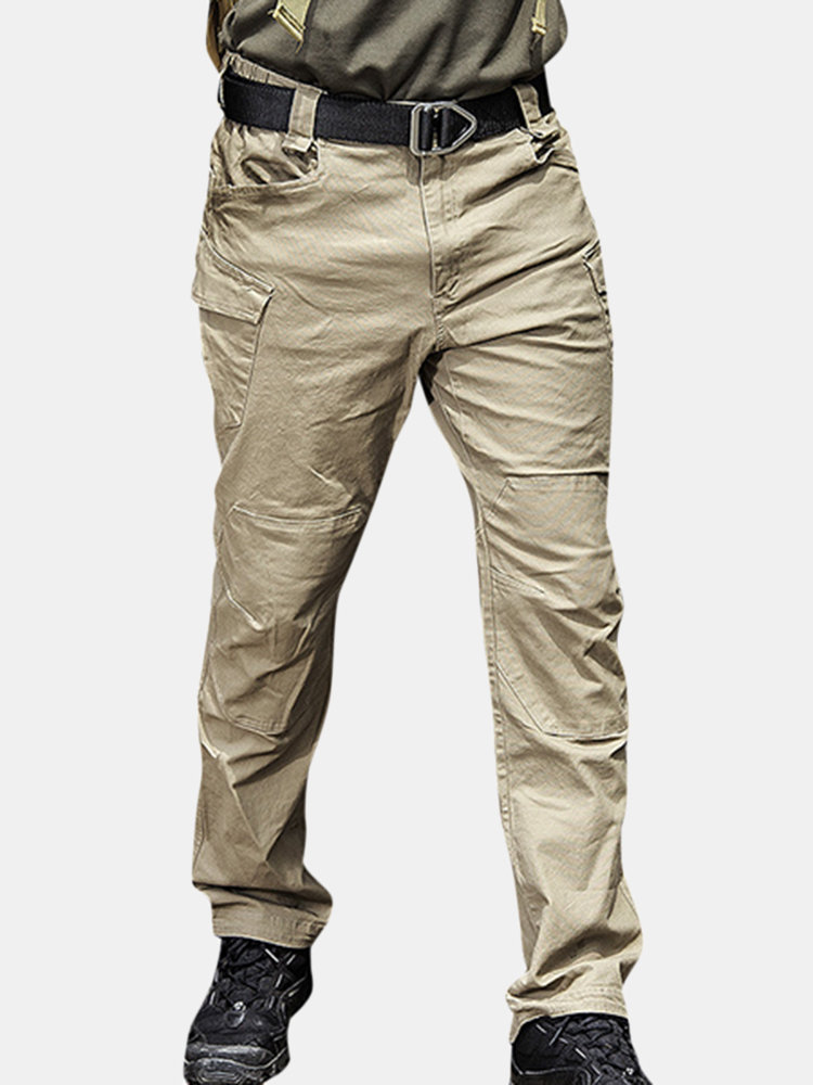 Mens Outdoor Multi-pocket Tactical Cargo Pants Solid Color Military Pants