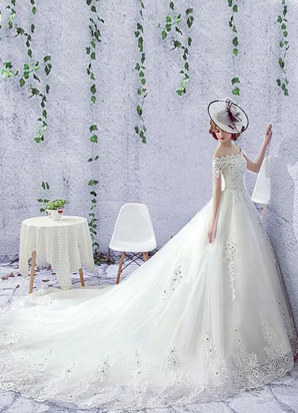 Milanoo Rhinestones Wedding Dress Off The Shoulder Lace Short Sleeve Lace Up Chapel Train Bridal Dress
