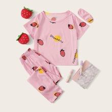 Maedchen Schlafanzug Set mit Erdbeere Muster und Augenmaske