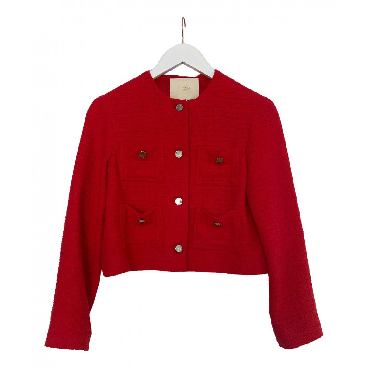 Maje \N Jacke in  Rot Baumwolle