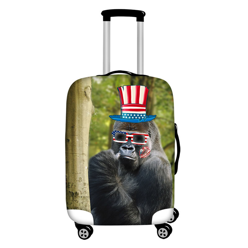 Orangutan with Flag Hat Waterproof Suitcase Protector for 19 20 21