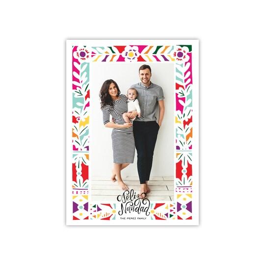 20 Pack of Gartner Studios® Personalized Floral Feliz Flat Feliz Navidad Photo Card in White | 5