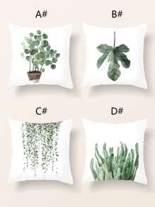 1pc Plant Print Cushion Cover Without Filler