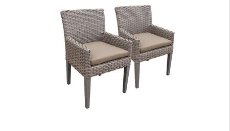 Florence Collection FLORENCE-TKC297b-DC-C-WHEAT 2 Dining Chairs With Arms - Grey and Wheat