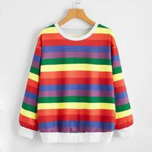 Rainbow Stripe Round Neck Sweatshirt