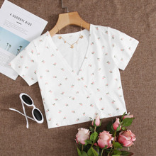 Camiseta cruzada delantera floral de margarita