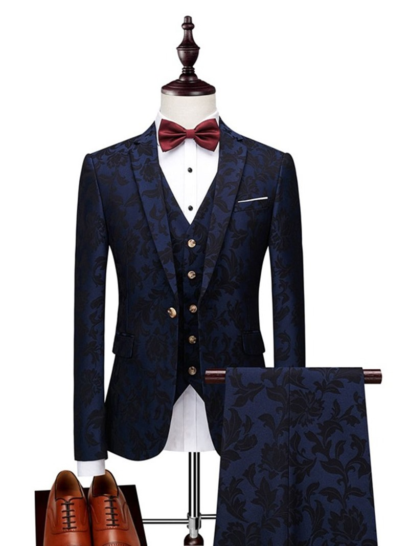 Ericdress Fashion Button Blazer Mens Dress Suit