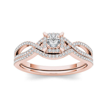 1/3 CT. T.W. Diamond 14K Rose Gold Engagement Ring, 9 , No Color Family