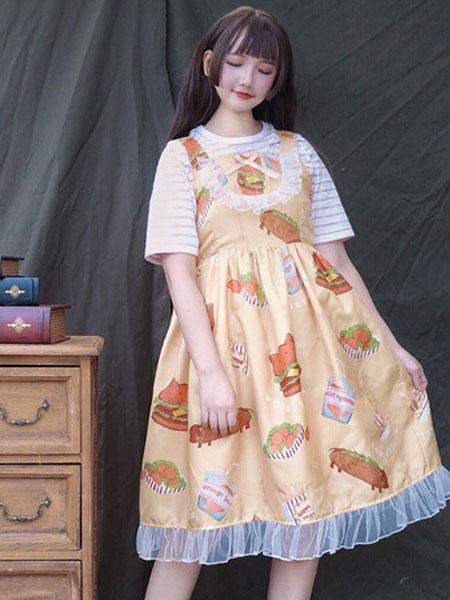 Milanoo Classic Lolita Outfit Print Ruffle Bow Lolita JSK Dress With Cotton Stripe T Shirt