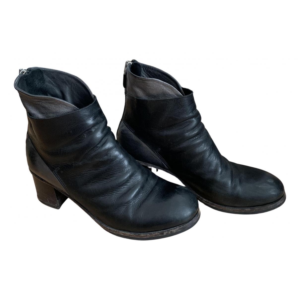 Moma \N Stiefeletten in  Schwarz Leder