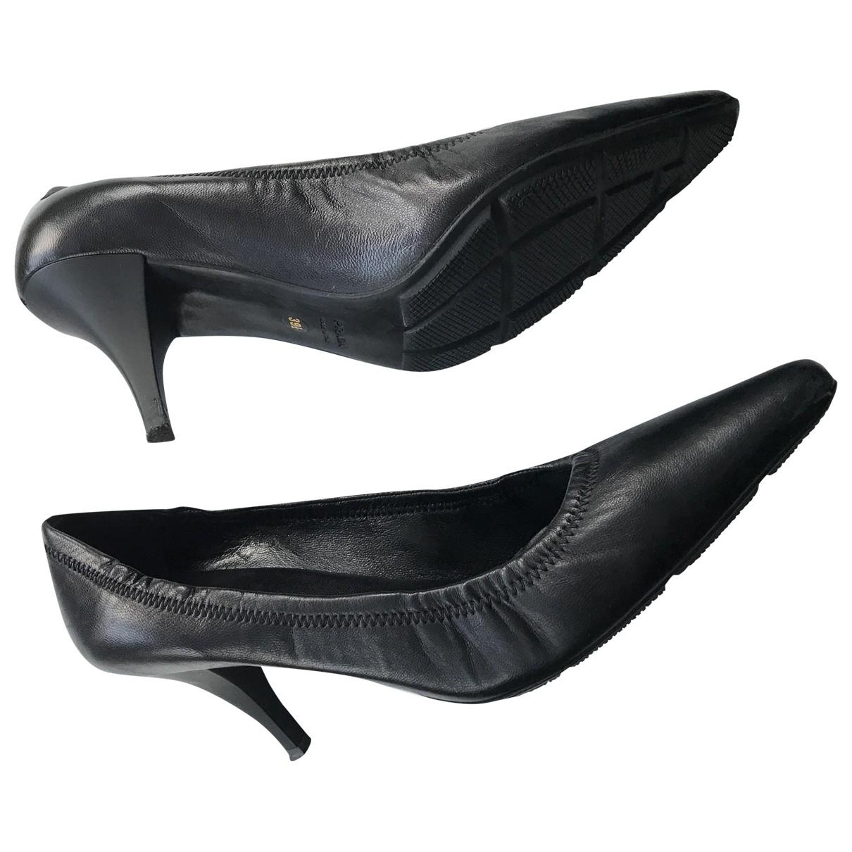 Prada \N Black Leather Heels for Women 39.5 EU