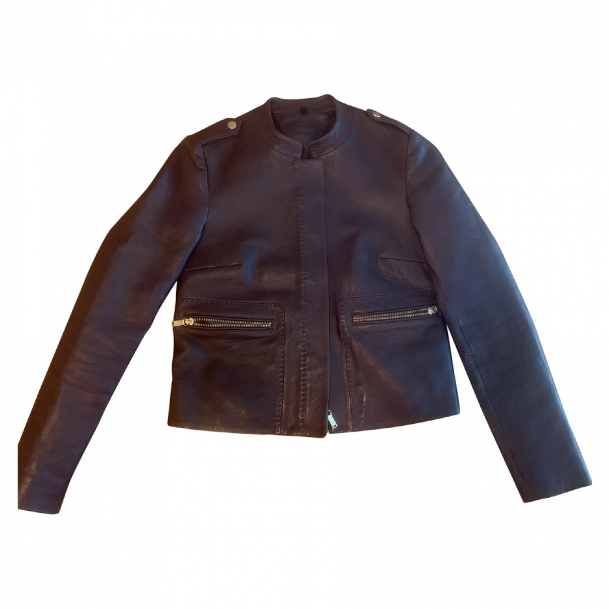 Massimo Dutti \N Burgundy Leather jacket for Women XS International