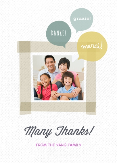 Thank You Cards 5x7 Folded Cards, Premium Cardstock 120lb, Card & Stationery -Many Thanks Bubble