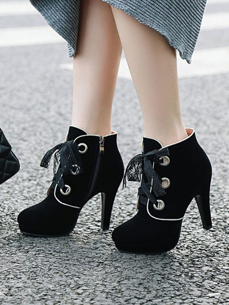 Milanoo Women Ankle Boots Black Micro Suede Upper Pointed Toe Stiletto Heel Front Lace Ankle Boots