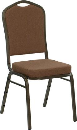 Hercules Collection NG-C01-COFFEE-GV-GG Stacking Banquet Chair with Crown Back  Support Braces  Floor Protector Glides  Gold Vein Powder Coated Steel