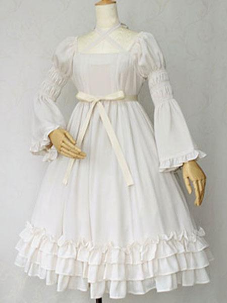 Milanoo Sweet Lolita Dress OP Cotton Ivory Hime Long Sleeve High Waisted Lace Ruffled Bow Cross Front Lolita One Piece Dress