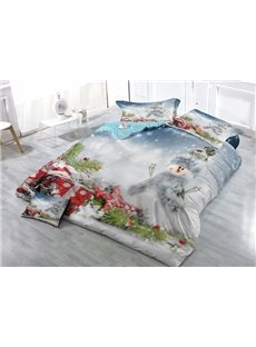 Dreamy Snowman and Christmas Gift Wear-resistant Breathable High Quality 60s Cotton 4-Piece 3D Bedding Sets