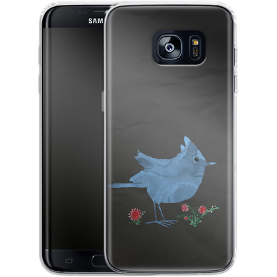 Samsung Galaxy S7 Edge Silikon Handyhuelle - Watercolour Bird Black von caseable Designs