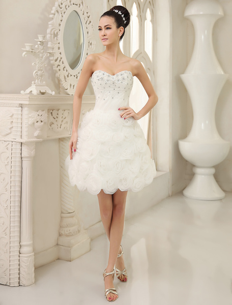 Milanoo Ivory A-line Sweetheart Neck Flower Short Brides Wedding Dress