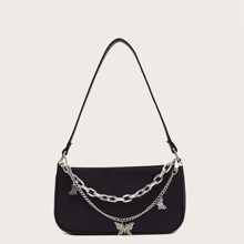 Metal Butterfly & Chain Decor Baguette Bag