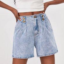 Denim Shorts mit Knopfen, Riemen Detail und breitem Beinschnitt