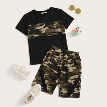 Jungen Top mit Camo Einsatz & Shorts Set mit elastischer Taille