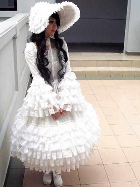 Milanoo Encaje blanco vestido Lolita para mujeres