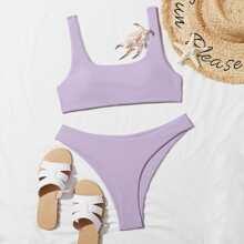 Bikini Badeanzug mit quadratischem Kragen