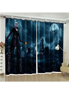 Halloween Decoration Cold Foggy Night Dramatic Full Moon and Ghost Printed Curtain