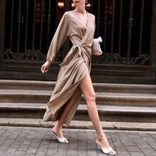 Vestidos Nudo Liso Elegante