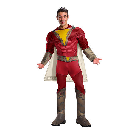 Shazam Deluxe Adult 3-pc. DC Comics Dress Up Costume Mens, X-large , Red