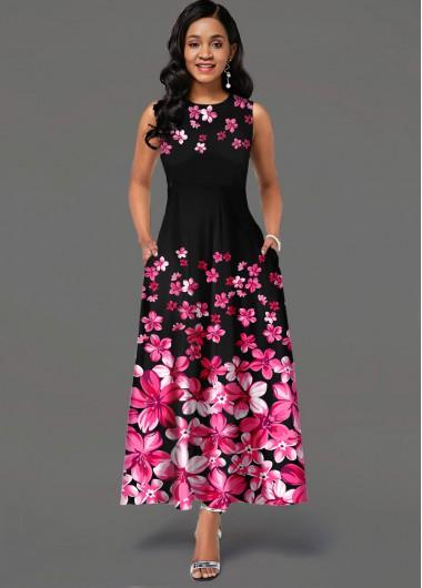 Wedding Guest Dress Side Pocket Sleeveless Floral Print Maxi Dress - XS