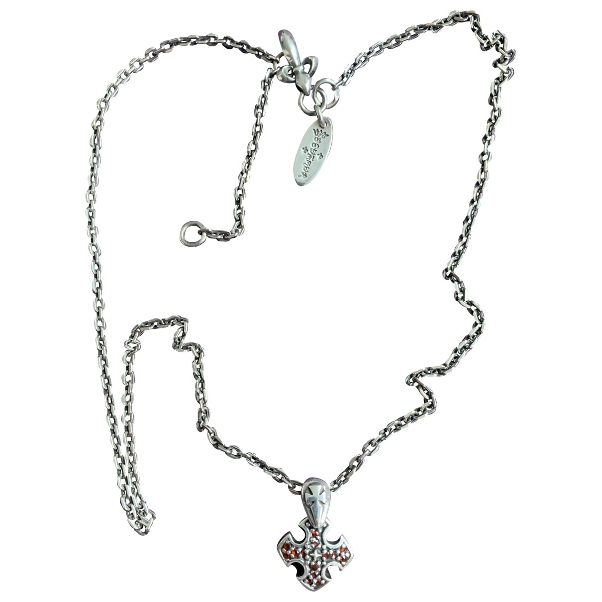 Non Signe / Unsigned Croix Kette in  Silber Silber