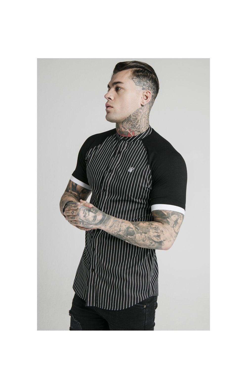SikSilk S/S Raglan Inset Cuff  Shirt - Black & White MEN SIZES TOP: Extra Large