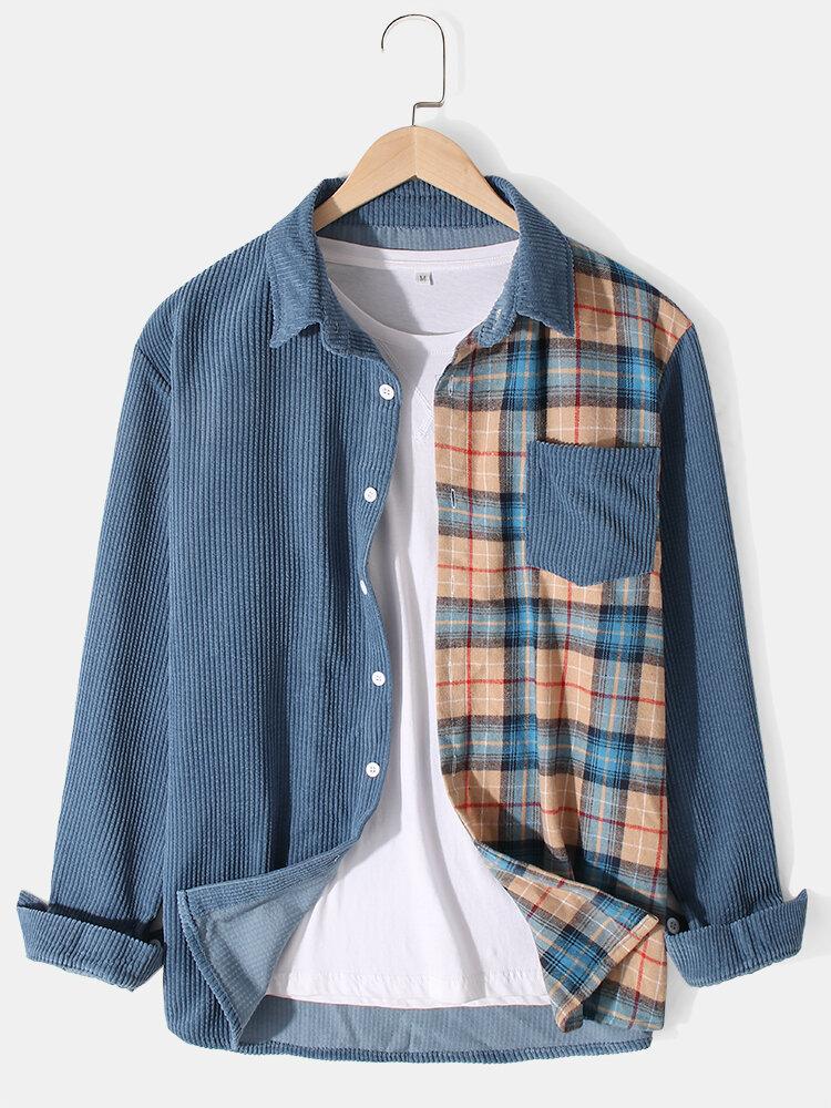 Mens Corduroy Tartan Patchwork Lapel Casual Long Sleeve Shirts With Pocket