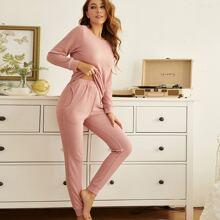 Conjunto de pijama con bolsillo oblicuo tejido waffle unicolor