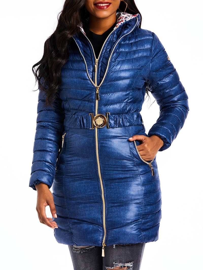 Ericdress Zipper Slim Thick Mid-Length Cotton Padded Jacket