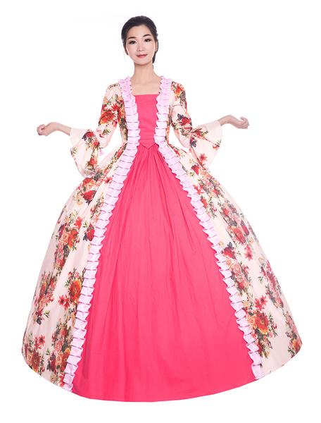 Milanoo Pink Retro Costumes Women Floral Print Ruffle Satin Halloween Victorian Style Vintage Clothing