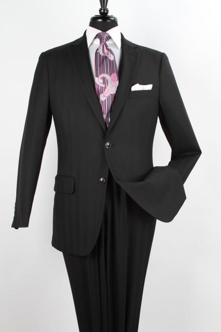 2Piece Wool Executive Suit Notch Lapel Solid Black Herringbone Pattern