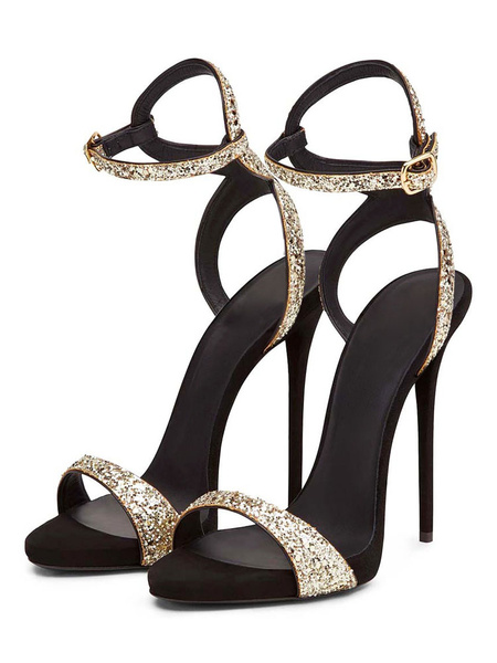 Milanoo Glitter Prom Heels Strappy Sky High Heel Sandals Gold Evening Shoes